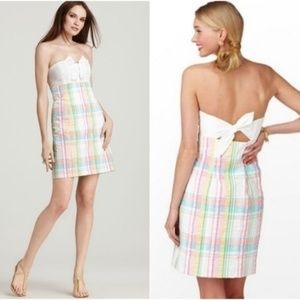Lilly Pulitzer Franco Summer Plaid Strapless Dress